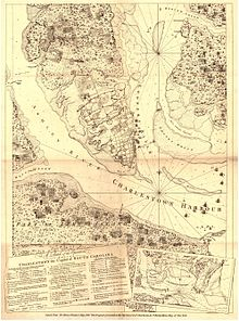 A copy of Henry Clinton's map from 1780 detailing the layout of British and Patriot forces in the siege of Charleston, showing Haddrel's Point, where Hogun died
