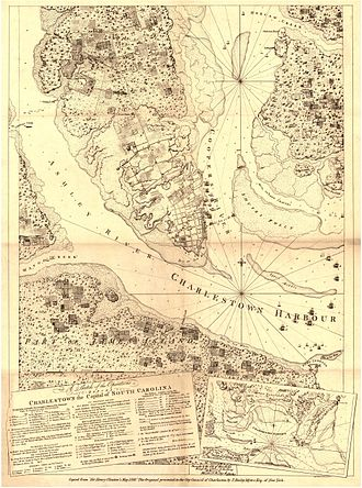 James Hogun - A copy of General Henry Clinton's 1780 map of the Siege of Charleston, showing the location of Haddrel's Point, where Hogun died, at far right.