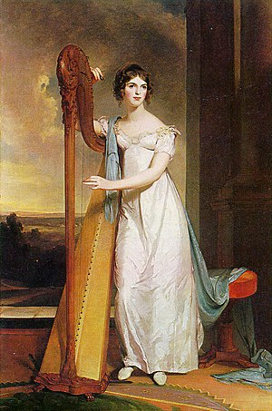 Eliza Ridgely - Lady with a Harp, portrait of Eliza Ridgely by Thomas Sully, 1818
