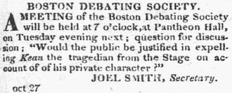 Edmund Kean - Image: 1825 Kean Boston Debating Boston Commercial Gazette Oct 27