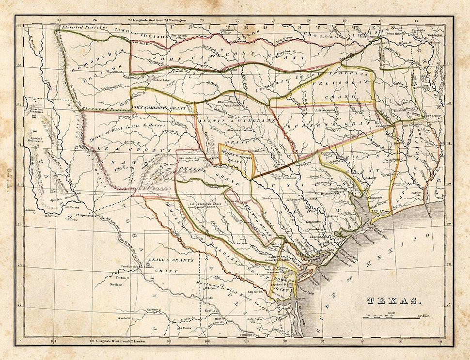 1835 Bradford Map of Texas