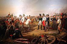 Karl Philipp zu Schwarzenberg meldet den verbündeten Monarchen den Sieg in der Völkerschlacht bei Leipzig. (Quelle: Wikimedia)