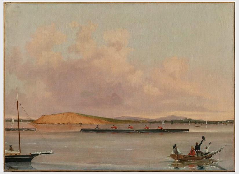 1852 BoatRace BostonHarbor byAALawrence MFABoston Boston Harbor