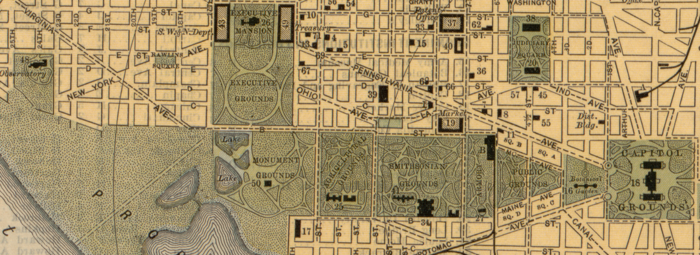 Map of the Mall in 1893 showing the Monuments Grounds, Agricultural Grounds, Smithsonian Grounds, Armory Square, Public Grounds and Botanical Gardens