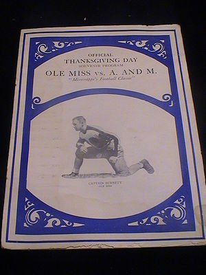 Egg Bowl - Image: 1929 Ole Miss vs MSU egg bowl program