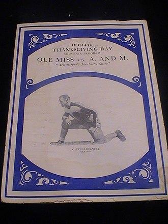 Egg Bowl - Image: 1929 Ole Miss vs MSU egg bowl program