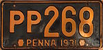 1931 Pennsylvania license plate.JPG