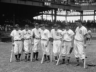 Joe DiMaggio - Seven of the American League's 1937 All-Star players, from left to right Lou Gehrig, Joe Cronin, Bill Dickey, Joe DiMaggio, Charlie Gehringer, Jimmie Foxx, and Hank Greenberg. All seven were eventually elected to the Hall of Fame.