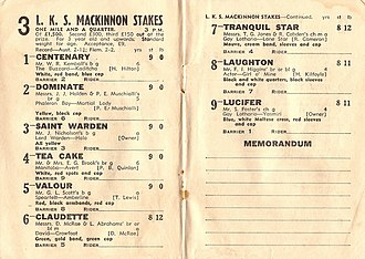 Tranquil Star - Image: 1944 VRC L.K.S. Mackinnon Stakes Racebook P3