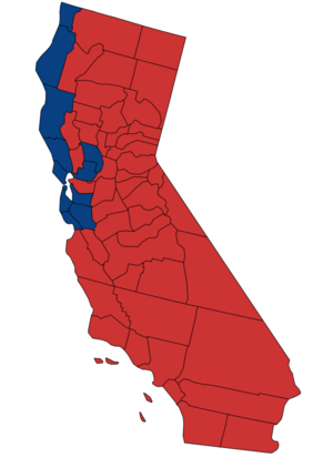 United States Senate election in California, 1988 - Image: 1988 California Senate Counties
