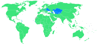 Participants at Summer olympics 1996 Blue = Participating for the first time. Green = Have previously participated. Yellow square is host city (Atlanta) 1996 Summer Olympic games countries.png