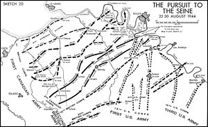 6th Airborne Division advance to the River Seine - Map of the First Canadian Army's advance, August 1944.