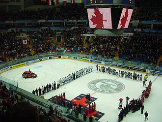 2007 IIHF World Championship Final - The national anthem of Canada being played after their victory.
