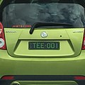 2007 Queensland registration plate TEE♦001 vanity on Holden Barina Spark.jpg