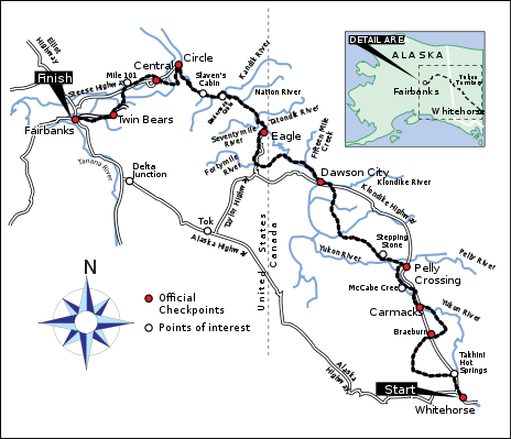 A map showing landmarks along the Yukon Quest race route, starting in Whitehorse, Yukon Territory, and traveling northwest to Fairbanks, Alaska. Rivers, highways, and points of interest are included.