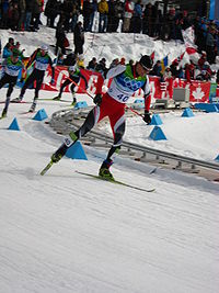 Felix Gottwald at the 2010 Winter Olympics during second part of individual large hill / 10 km event