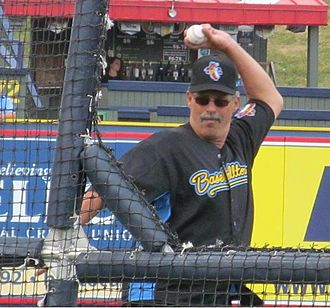 Ross Grimsley - Grimsley pitching batting practice prior to Eastern League All-Star Game 2012 07 11 in Reading PA