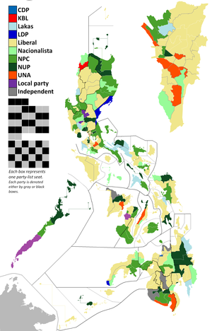 Philippine House of Representatives elections, 2013 - Image: 2013 Philippine House of Representatives district election results