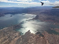 2015-11-03 11 08 37 View south across Las Vegas Bay on Lake Mead, Nevada from an airplane.jpg