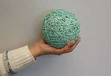 A rubber band ball made from over 3,000 individual rubber bands.