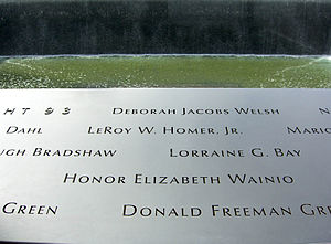 LeRoy Homer Jr. - Homer's name is located on Panel S-67 of the National September 11 Memorial's South Pool, along with those of other passengers and crew of Flight 93.