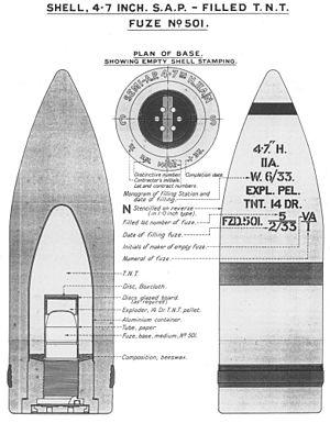 BL 4.7 inch/45 naval gun - Image: 4.7 inch SAP Mk II A shell diagrams 1933