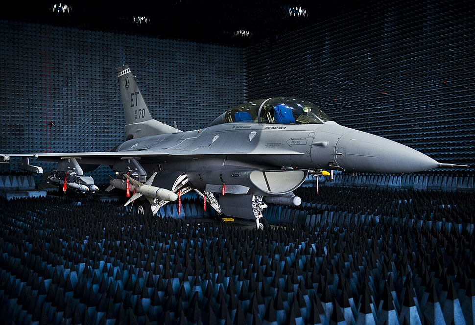 40th Flight Test Squadron F-16 Fighting Falcon sits in the anechoic chamber