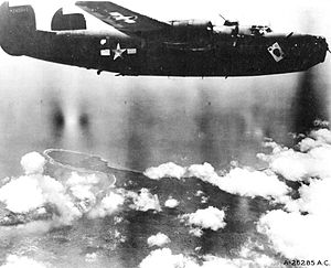 "63d Bombardment Squadron - ""The Ace O' Spades"" B-24D-115-CO Liberator 42-40945 ""Ken's Men"", 5th Air Force. Photo taken: 20 December 1943"