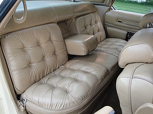 Corinthian leather - Interior photo of a 1978 Chrysler New Yorker Brougham, showing the leather interior