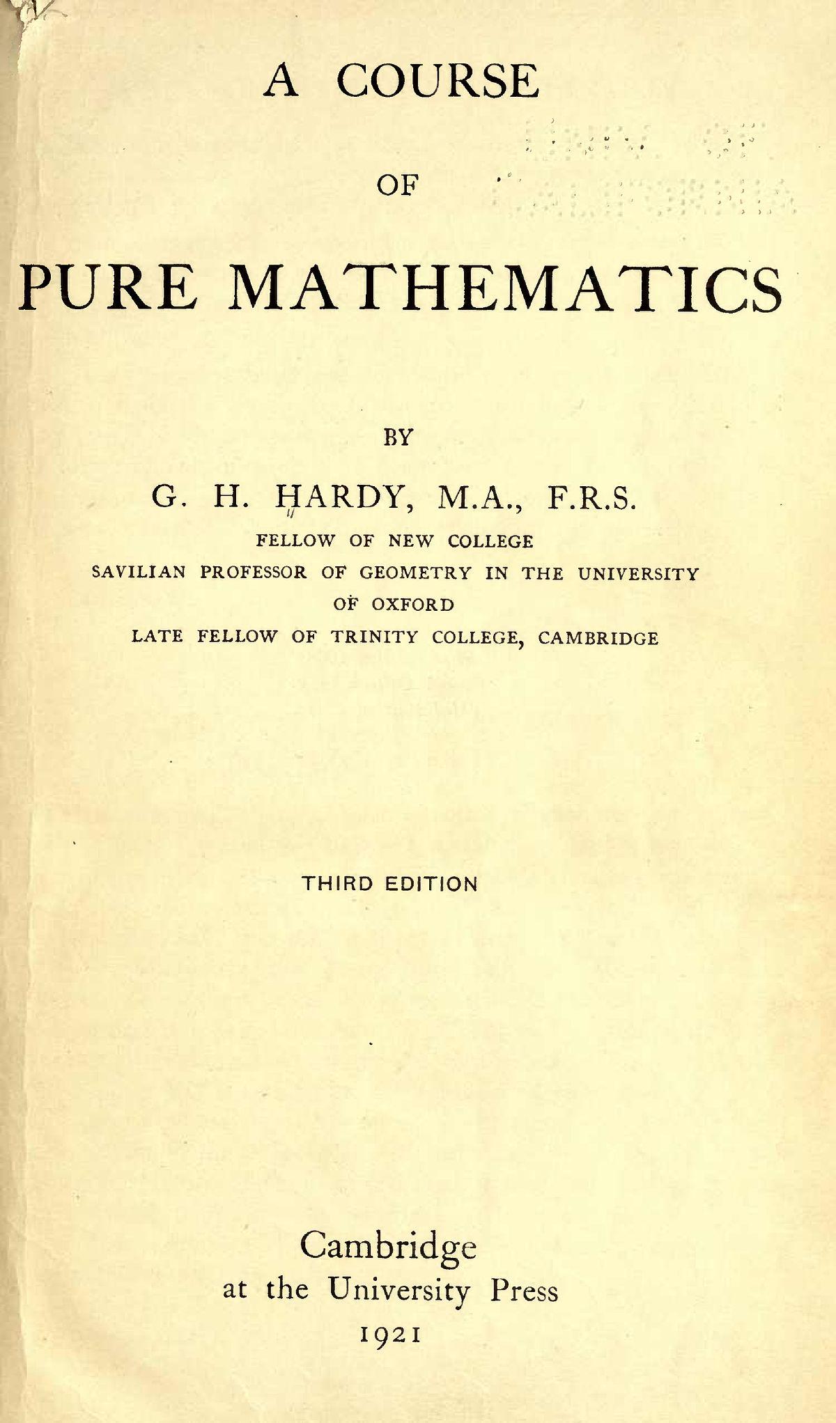 0150c40357973 A Course of Pure Mathematics - Wikipedia