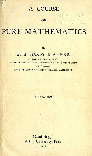 Userpaul augustbibliography wikivisually a course of pure mathematics cover of third edition 1921 fandeluxe Gallery