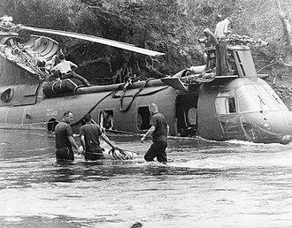 VMM-165 - HMM-165 CH-46 is prepared for retrieval near Chu Lai, 12 March 1967