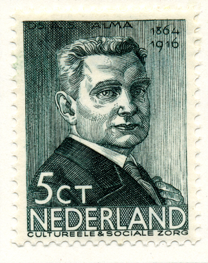 Syb Talma -  Syb Talma on the 5 cent stamp of a 1936 series of Dutch stamps