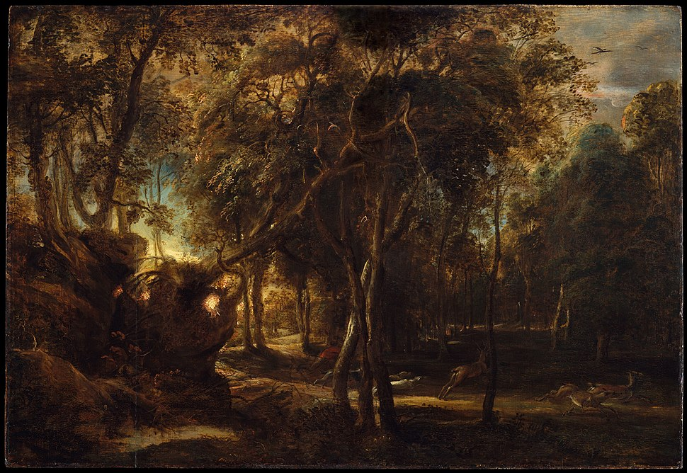 A Forest at Dawn with a Deer Hunt MET DT4532