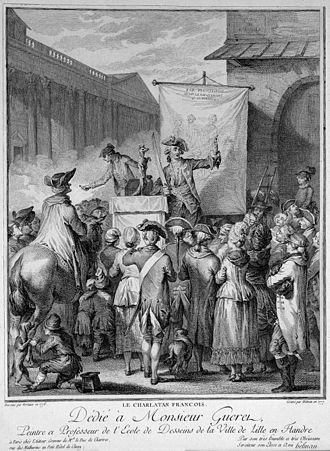 Retail - A French itinerant medicine vendor on stage selling his wares