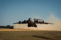 A U.S. Air Force C-17 Globemaster III aircraft departs Geronimo Landing Zone during the Joint Readiness Training Center 14-03 field training exercise at Fort Polk, La., Jan. 16, 2014 140116-F-XL333-170.jpg