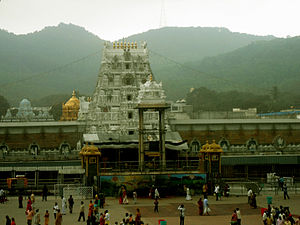Left:Tirumala Venkateswara Temple, Right:Kanaka Durga Temple in Vijayawada are along the Eastern Ghats - Eastern Ghats