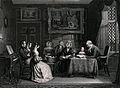 A family group in their drawing room at evening prayer with Wellcome V0038693.jpg