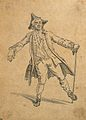 A man walking with the posture of a drunkard. Drawing with w Wellcome V0009089.jpg