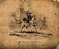 A skeletal figure riding a horse past a church and the devil Wellcome V0010727.jpg