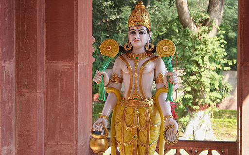 A statue of deity Vishnu at Birla Sun temple Gwalior