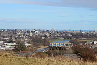 From the top: Part of the Aberdeen skyline, Aberdeen Harbour, and the High Street in Old Aberdeen.