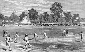 Australian Aboriginal cricket team in England in 1868 - The Aboriginal team playing against Melbourne Cricket Club at the MCG, early 1867