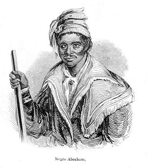 Black Seminoles - Abraham, a Black Seminole leader, from N. Orr's engraving in The Origin, Progress, and Conclusion of the Florida War (1848) by John T. Sprague.