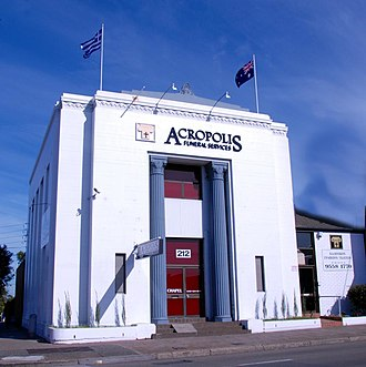 Earlwood, New South Wales - Acropolis Funeral services in former bank building in Homer Street