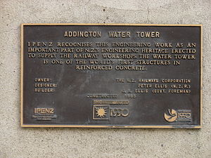 Addington Railway Workshops - Water tower plaque.