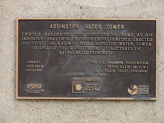 Addington Railway Workshops - Water tower plaque.