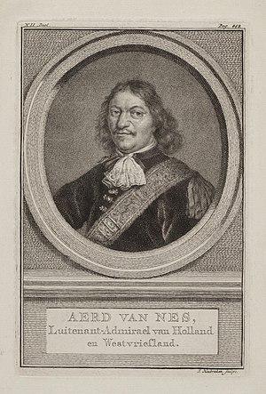 Aert Jansse van Nes - Etching of Aert van Nes by Jacobus Houbraken
