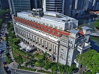 Robert Fullerton - Aerial perspective of the Fullerton Hotel, Singapore named after Robert Fullerton. Shot October 2018.
