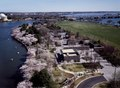 Aerial view of the Franklin Delano Roosevelt Memorial, foreground, and the Thomas Jefferson Memorial, top right, at spring cherry blossom time, Washington, D.C LCCN2011633828.tif